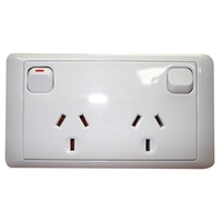 CMS DOUBLE WHITE 10AMP POWER OUTLET W/20AMP INSTALL COUPLERS. J16.2NW - EA